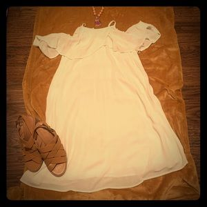 Mossimo White Cold Shoulder Summer Dress